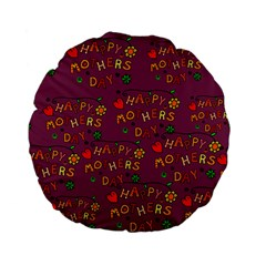 Happy Mothers Day Text Tiling Pattern Standard 15  Premium Flano Round Cushions