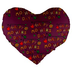 Happy Mothers Day Text Tiling Pattern Large 19  Premium Flano Heart Shape Cushions