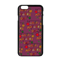 Happy Mothers Day Text Tiling Pattern Apple iPhone 6/6S Black Enamel Case