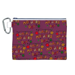 Happy Mothers Day Text Tiling Pattern Canvas Cosmetic Bag (L)