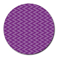 Purple Zig Zag Pattern Background Wallpaper Round Mousepads