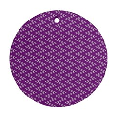 Purple Zig Zag Pattern Background Wallpaper Ornament (Round)
