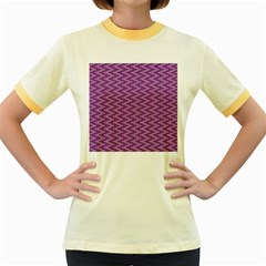 Purple Zig Zag Pattern Background Wallpaper Women s Fitted Ringer T Shirts
