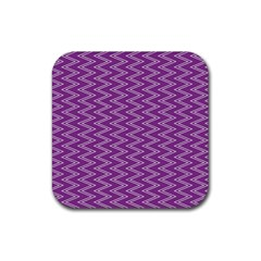Purple Zig Zag Pattern Background Wallpaper Rubber Square Coaster (4 pack)