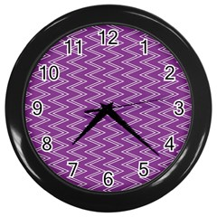 Purple Zig Zag Pattern Background Wallpaper Wall Clocks (Black)