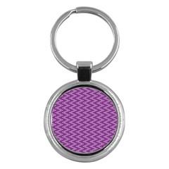 Purple Zig Zag Pattern Background Wallpaper Key Chains (Round)