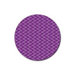 Purple Zig Zag Pattern Background Wallpaper Rubber Coaster (Round)