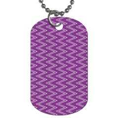 Purple Zig Zag Pattern Background Wallpaper Dog Tag (Two Sides)