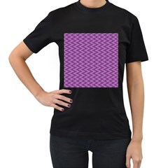 Purple Zig Zag Pattern Background Wallpaper Women s T-Shirt (Black) (Two Sided)