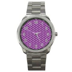Purple Zig Zag Pattern Background Wallpaper Sport Metal Watch