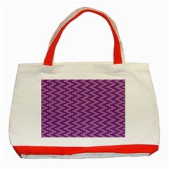 Purple Zig Zag Pattern Background Wallpaper Classic Tote Bag (red)