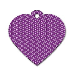 Purple Zig Zag Pattern Background Wallpaper Dog Tag Heart (One Side)