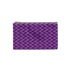 Purple Zig Zag Pattern Background Wallpaper Cosmetic Bag (Small)