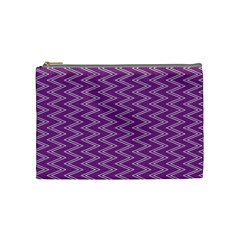 Purple Zig Zag Pattern Background Wallpaper Cosmetic Bag (Medium)