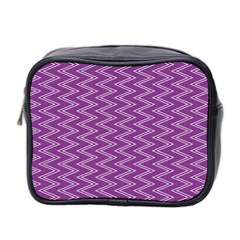 Purple Zig Zag Pattern Background Wallpaper Mini Toiletries Bag 2-Side