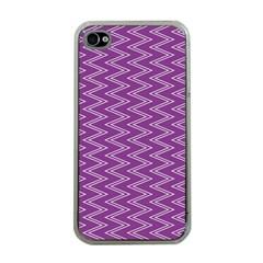 Purple Zig Zag Pattern Background Wallpaper Apple iPhone 4 Case (Clear)