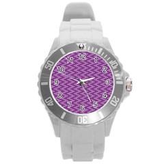 Purple Zig Zag Pattern Background Wallpaper Round Plastic Sport Watch (l)