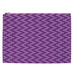Purple Zig Zag Pattern Background Wallpaper Cosmetic Bag (XXL)