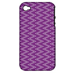 Purple Zig Zag Pattern Background Wallpaper Apple iPhone 4/4S Hardshell Case (PC+Silicone)