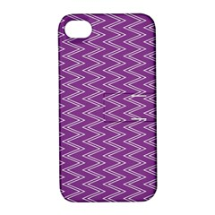 Purple Zig Zag Pattern Background Wallpaper Apple Iphone 4/4s Hardshell Case With Stand