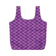 Purple Zig Zag Pattern Background Wallpaper Full Print Recycle Bags (M)