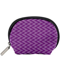 Purple Zig Zag Pattern Background Wallpaper Accessory Pouches (Small)