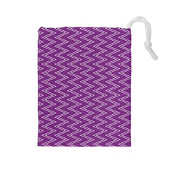 Purple Zig Zag Pattern Background Wallpaper Drawstring Pouches (large)