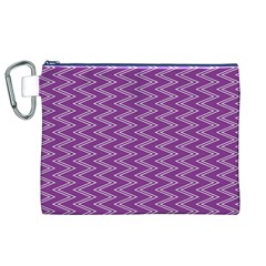 Purple Zig Zag Pattern Background Wallpaper Canvas Cosmetic Bag (XL)