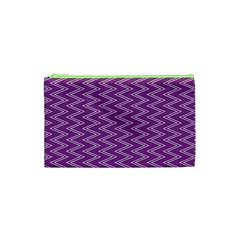 Purple Zig Zag Pattern Background Wallpaper Cosmetic Bag (xs)