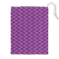 Purple Zig Zag Pattern Background Wallpaper Drawstring Pouches (XXL)