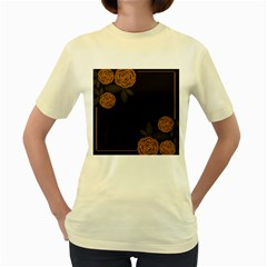Floral Roses Seamless Pattern Vector Background Women s Yellow T Shirt