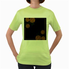 Floral Roses Seamless Pattern Vector Background Women s Green T-Shirt