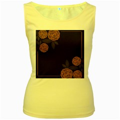 Floral Roses Seamless Pattern Vector Background Women s Yellow Tank Top