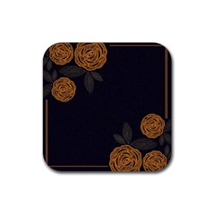 Floral Roses Seamless Pattern Vector Background Rubber Square Coaster (4 Pack)