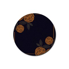 Floral Roses Seamless Pattern Vector Background Rubber Round Coaster (4 pack)
