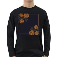 Floral Roses Seamless Pattern Vector Background Long Sleeve Dark T-Shirts