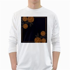 Floral Roses Seamless Pattern Vector Background White Long Sleeve T-Shirts