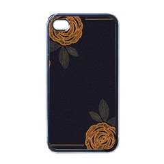 Floral Roses Seamless Pattern Vector Background Apple iPhone 4 Case (Black)