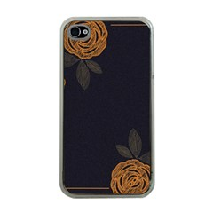Floral Roses Seamless Pattern Vector Background Apple iPhone 4 Case (Clear)