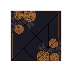 Floral Roses Seamless Pattern Vector Background Acrylic Tangram Puzzle (4  X 4 )