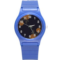 Floral Roses Seamless Pattern Vector Background Round Plastic Sport Watch (S)