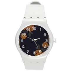 Floral Roses Seamless Pattern Vector Background Round Plastic Sport Watch (M)