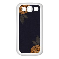 Floral Roses Seamless Pattern Vector Background Samsung Galaxy S3 Back Case (White)