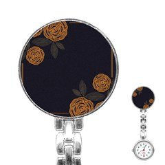 Floral Roses Seamless Pattern Vector Background Stainless Steel Nurses Watch