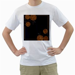 Floral Roses Seamless Pattern Vector Background Men s T-Shirt (White)