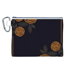 Floral Roses Seamless Pattern Vector Background Canvas Cosmetic Bag (L)