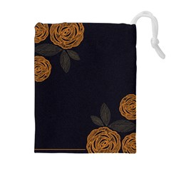 Floral Roses Seamless Pattern Vector Background Drawstring Pouches (Extra Large)