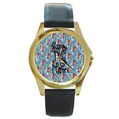 Happy Mothers Day Celebration Round Gold Metal Watch