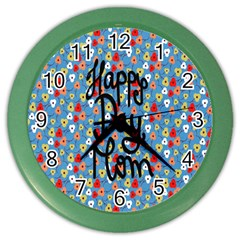 Happy Mothers Day Celebration Color Wall Clocks