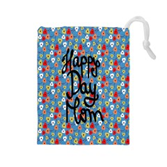 Happy Mothers Day Celebration Drawstring Pouches (large)